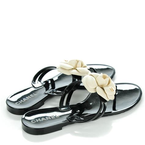chanel jelly sandals chanel jelly camellia sandals 38 black ivory 138587
