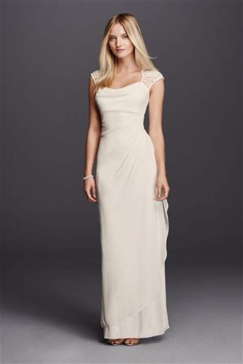 Organza Plain White Wedding Dresses by David S Bridal Lace Cap Sleeve Matte Mesh Xs3450 New