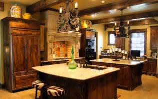 tuscan kitchen double island mediterranean kitchen