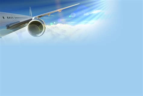 Free Flight Airplane Cloud And Sun Ray Backgrounds For Airline Ppt Template