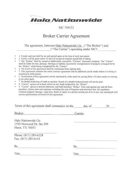 Broker Carrier Agreement Template Halo Nationwide Resources