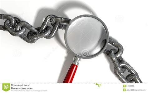 missing link chain missing link magnifying glass royalty free stock images image 34568979