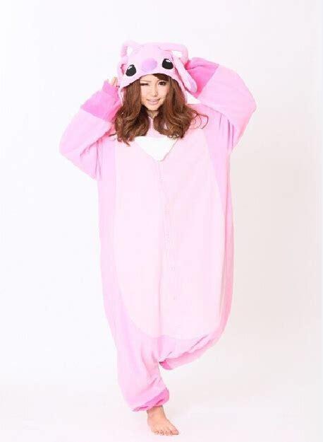 Jam Flanel Stitch Pink anime pink stitch lilo stitch pajamas winter fleece onesie one