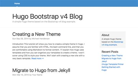 themes blog bootstrap hugo theme bootstrap4 blog hugo themes