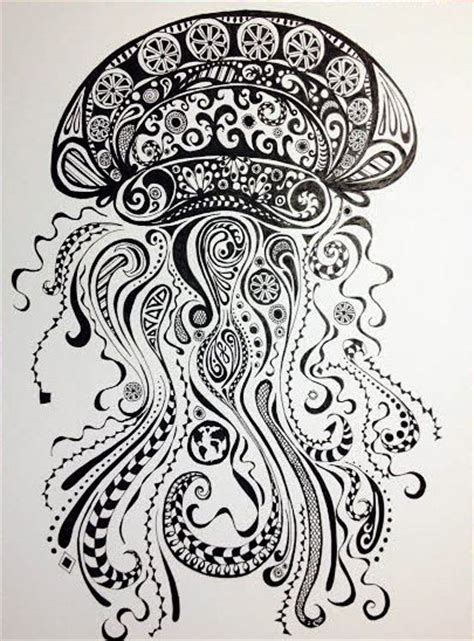 mandala jellyfish tattoo abstract jellyfish ink and pen drawing original by