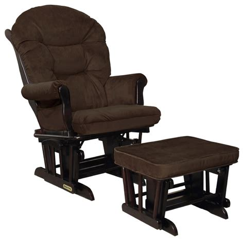 Glider Rockers And Ottomans Shermag Combo Glider And Ottoman Espresso And Mocha Traditional Gliders By Shermag