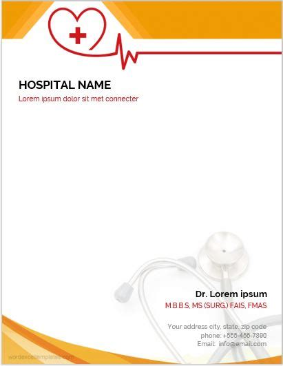 Office Letterhead Template Free by 5 Best Ms Word Letterhead Templates For Hospitals Clinics