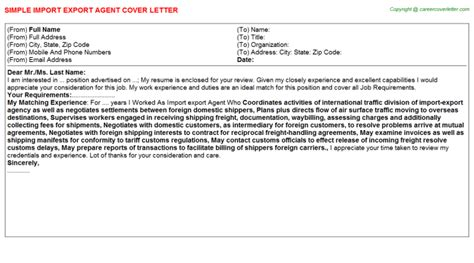 Import Export Cover Letter by Import Export Cover Letter Sle