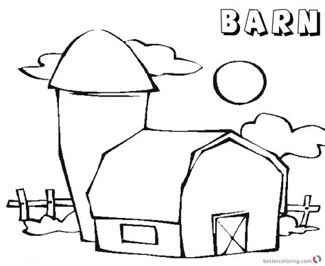 barn coloring pages barn coloring pages barn sun and cloud free printable