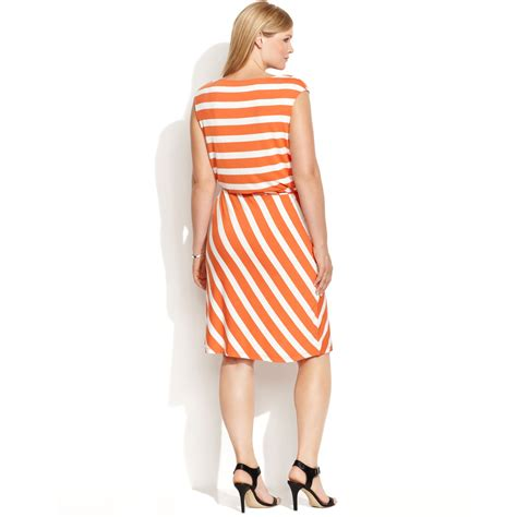 calvin klein plus size sleeveless striped belted dress in