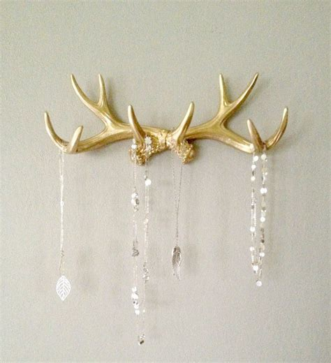 gold faux deer antler rack jewelry holder and by lucyhaus