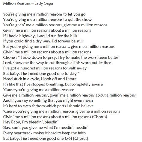 the reason testo traduzione million reasons di gaga traduzione testo con