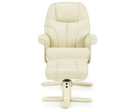 cream recliner chairs rosenberg cream faux leather recliner chair and stool