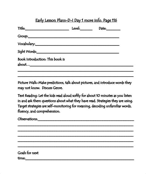 10 Sle Guided Reading Lesson Plans Sle Templates Madeline Lesson Plan Template