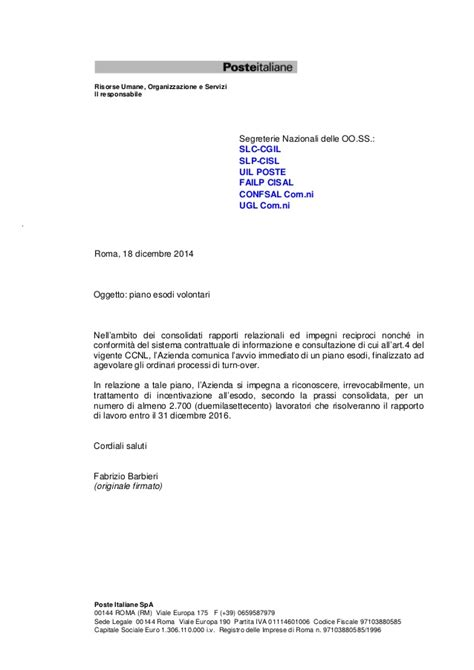 poste italiane spa sede legale esodi incentivati