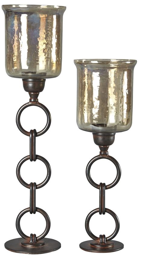 Bronze Glass Candle Holders Oana Bronze Candle Holder Set Of 2 A2000202
