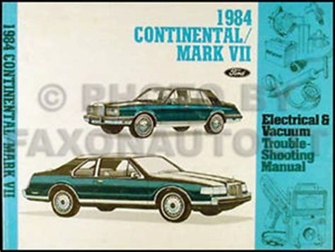 1984 lincoln continental and mark vii electrical vacuum troubleshooting manual ebay