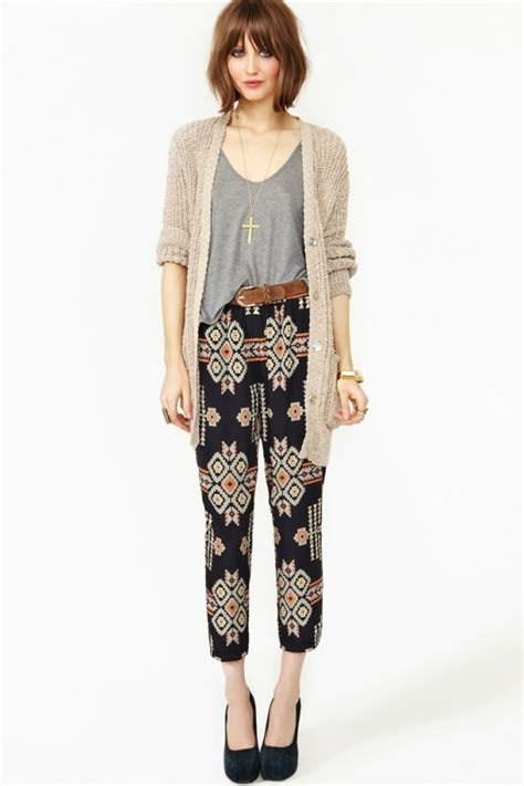 how to wear printed pantstrousers fall2013 pinterest daily outfit cable car couture