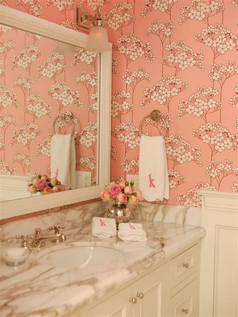girly bathroom pink bathroom wallpaper contemporary bathroom amanda