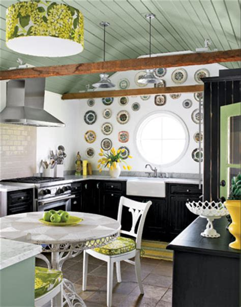 funky kitchens decorating by color green