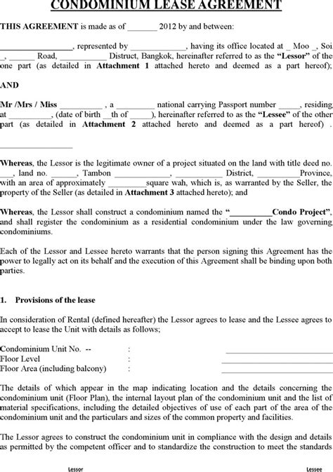 2 Condo Lease Agreement Template Free Download Condo Rental Lease Template