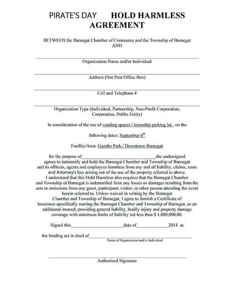 insurance agreement template hold harmless agreement template for different purposes