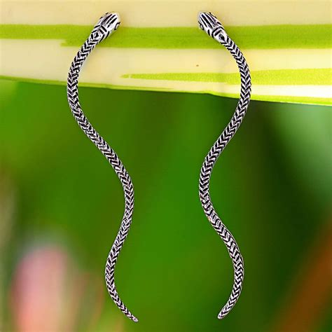 Unicefs Handmade Thai Notecards by Unicef Market Sterling Silver Snake Drop Earrings From