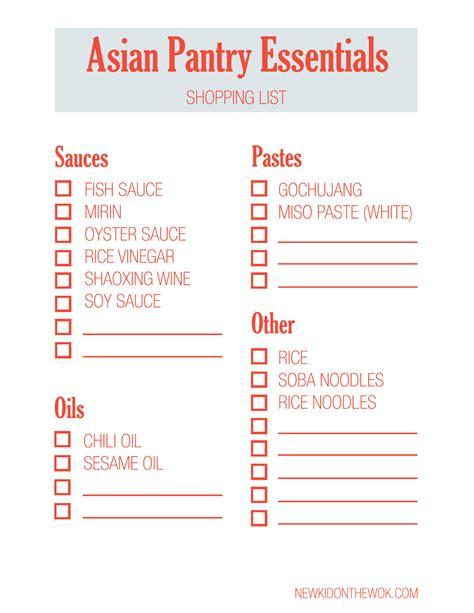 asian pantry essentials shopping list  kid   wok