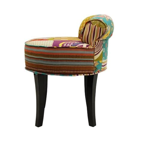 multi coloured chairs patchwork shabby chic chair stool wood legs multi
