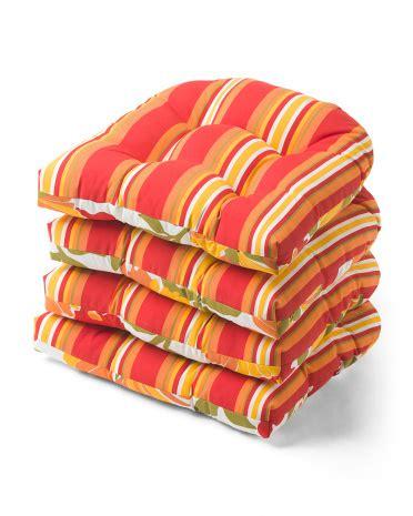 U Shaped Patio Chair Cushion by Set Of 4 Striped U Shaped Outdoor Seat Cushions