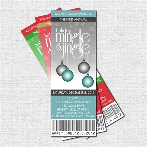holiday party quot mingle jingle quot printable ticket