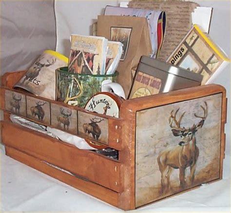 Gift Ideas For Deer Hunters - deer lodge hunters gift basket cabin wood crate gift mug