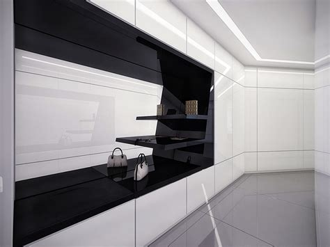 Black Closet by Futuristic Black And White Apartment