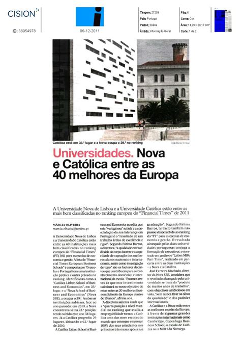 Lisbon Mba Ranking by Cat 243 Lica And Among The Top 40 European Business