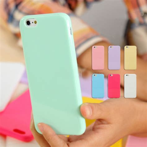 pastel candy gloss shiny soft silicone case cover skin