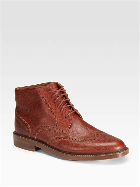cognac boots for florsheim by duckie brown wingtip brogue ankle boots in