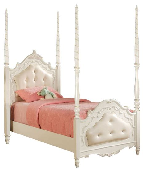 White Upholstered Headboard And Footboard Poster Bed White Pearl With Cushioned Headboard And Footboard In 7 Flora 01660t 6 Disney