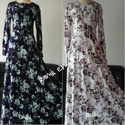 Jersey Motif Bunga Putih gamis ema 028 gamis payung umbrella bawah lebar motif