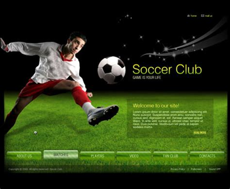 soccer club video gallery template best website templates
