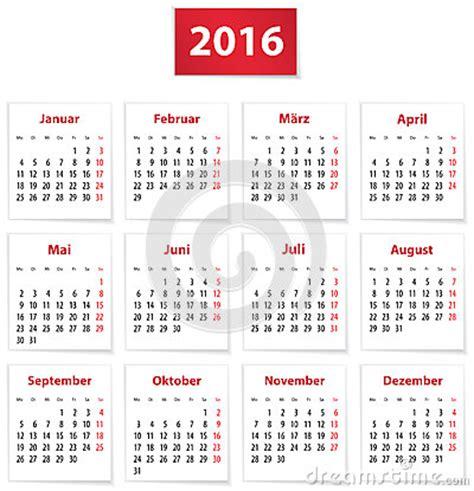German Kalender 2016 2016 German Calendar Stock Illustration Image 59011101