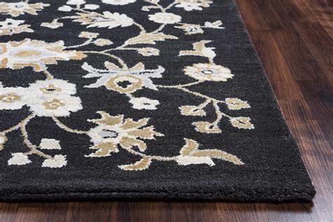 Blue Grey Brown Area Rug Valintino Ornate Floral Pattern Wool Area Rug In Black Gray Brown Blue 9 X 12
