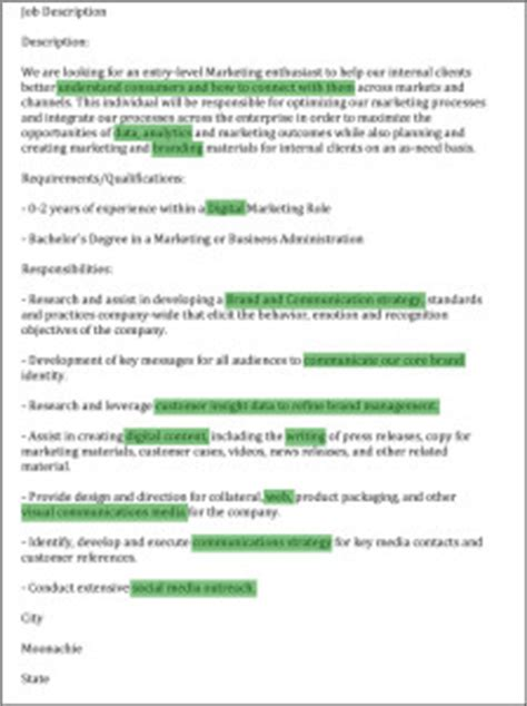 description of highlights how to match your r 233 sum 233 to a job description aftercollege
