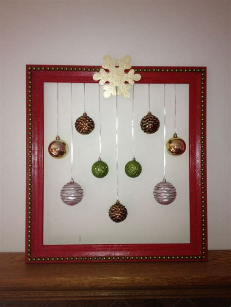 christmas picture frame wreath crafts pinterest