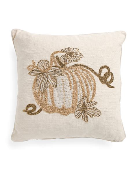 made in india 20x20 beaded pumpkin pillow throw pillows t j maxx