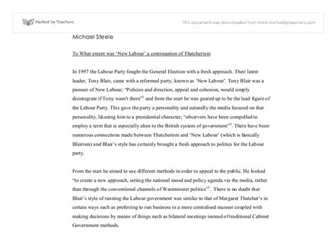 Thatcherism Essay by To What Extent Was New Labour A Continuation Of Thatcherism A Level Politics Marked By