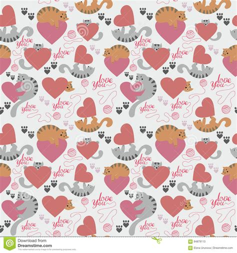 cute valentine pattern cute cat valentine s day pattern stock vector image