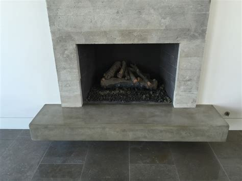 concrete fireplace hearth concrete board formed veneer tile fireplace surround and floating hearth modern family room