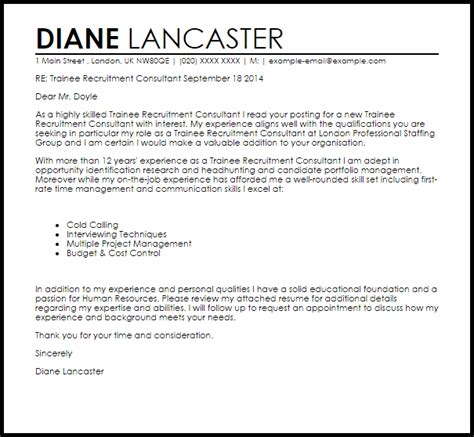 cover letter for recruitment consultant trainee recruitment consultant cover letter sle