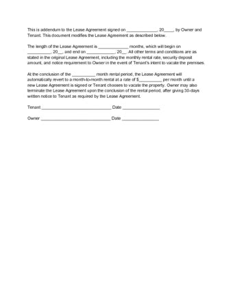 How To Write An Addendum To A Lease With Sle Addendums Lease Addendum Template