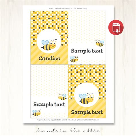 bee card template bumble bee tent cards template printable place
